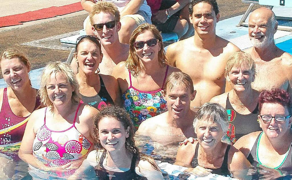 Rum City Masters swimmers shone at the State Long Course Championships, (front, from left) Sue Brennan, Lexie Towner, Alison Vercoe, (middle) Tracy Dunn, Bruce Bass, Ros Hodge, Sharon Walsh, (back) Will Milford, Edmond D'Albret and George Green.