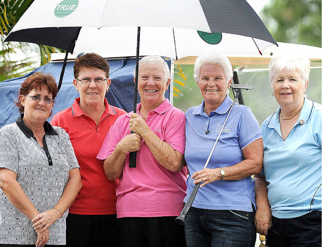 Sharon Polzin, Lyn Bretherton, Penny Rowell, Carol Parsons and Marie Perkin were aiming to have a hit and hoping not to get wet when they played at the Hervey Bay Golf Club yesterday.