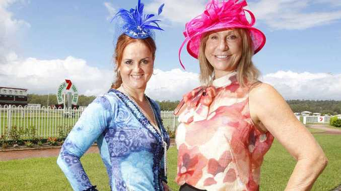 Lisa Wallace and Alison McGrath from Recruitment Queensland getting ready for the Ladies' Race Day at the Ipswich Turf Club this Friday.