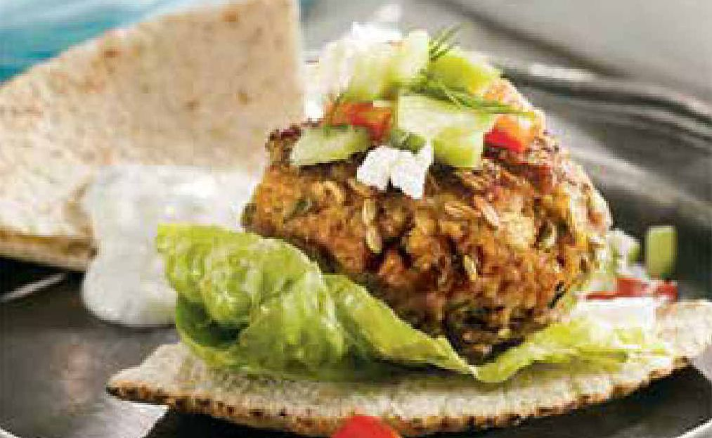 Use locally-grown meat to add zing to family meals such as these mini Greek lamb burgers.