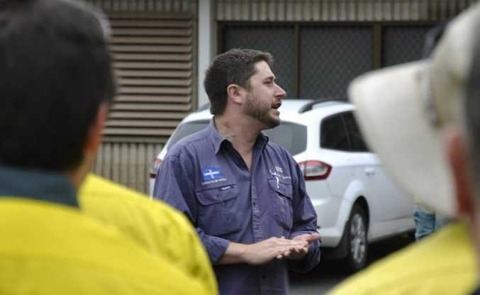 Electrical Trades Union state organiser Trevor Gauld addresses workers at the Ergon Energy depot in Toowoomba.