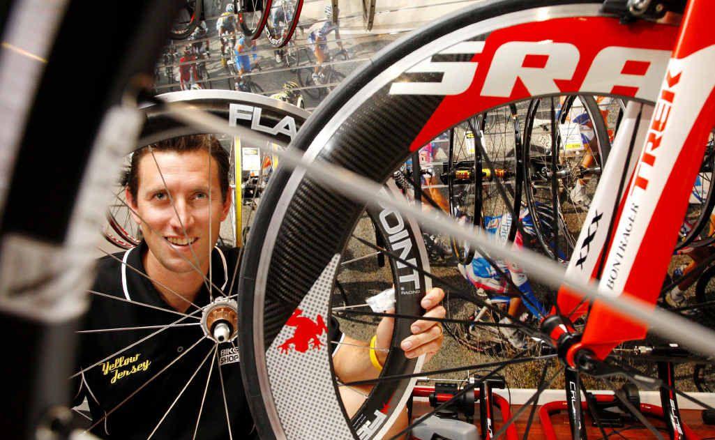 Yellow Jersey Bike Shop owner Troy Dobinson at his bike shop on Brisbane Rd.