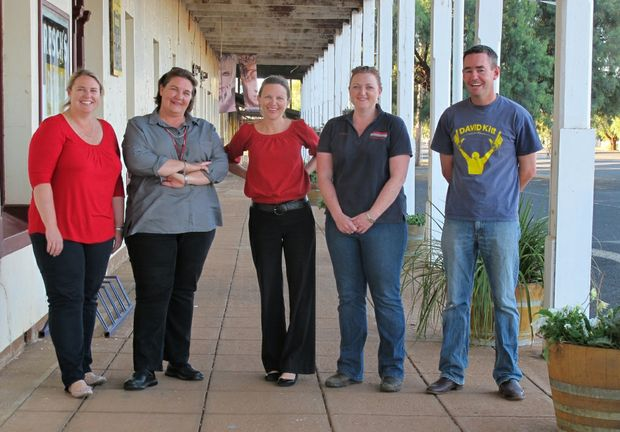 The Trundle Tree Change Committee, from left, Dolly Wright, Sally Capell, Cherie Quade, Dannielle Ward and Ben Kerin, pictured in a scene from the ABC TV series Country Town Rescue.