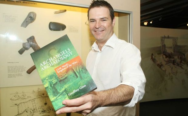 Geoff Ginn with his recently published book titled Archangels Archaeology at the Abbey Musuem. Photo: Nicola Brander / Caboolture News