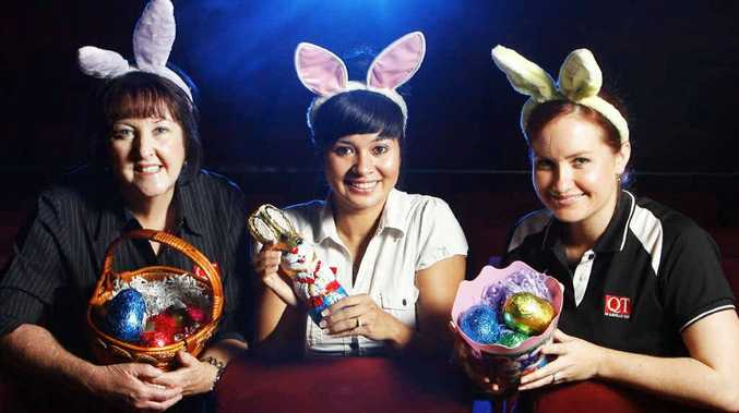 Jessica Barany (centre) from Reading Cinema with Queensland Times staff Bernadette Mohr and Amy O'Sullivan promote the Adopt-A-Family Easter movie event.