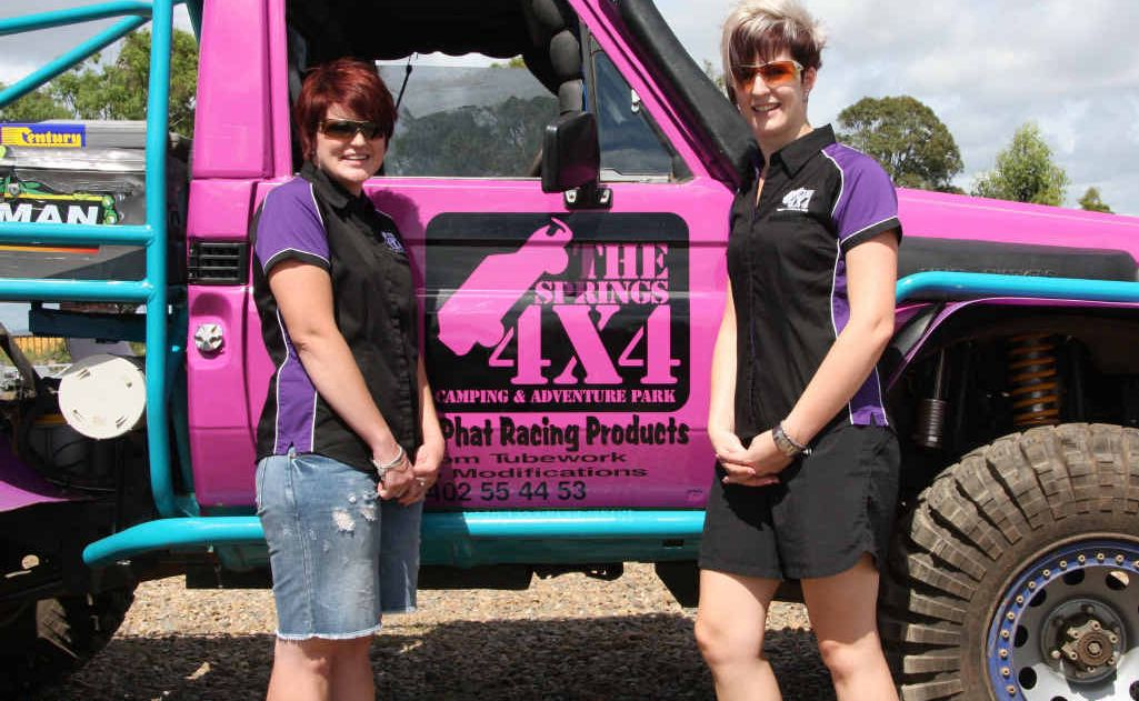 Emily Taylor (left) and Katie Ireland will take on the boys in this weekend's extreme 4x4 competition in Brisbane.