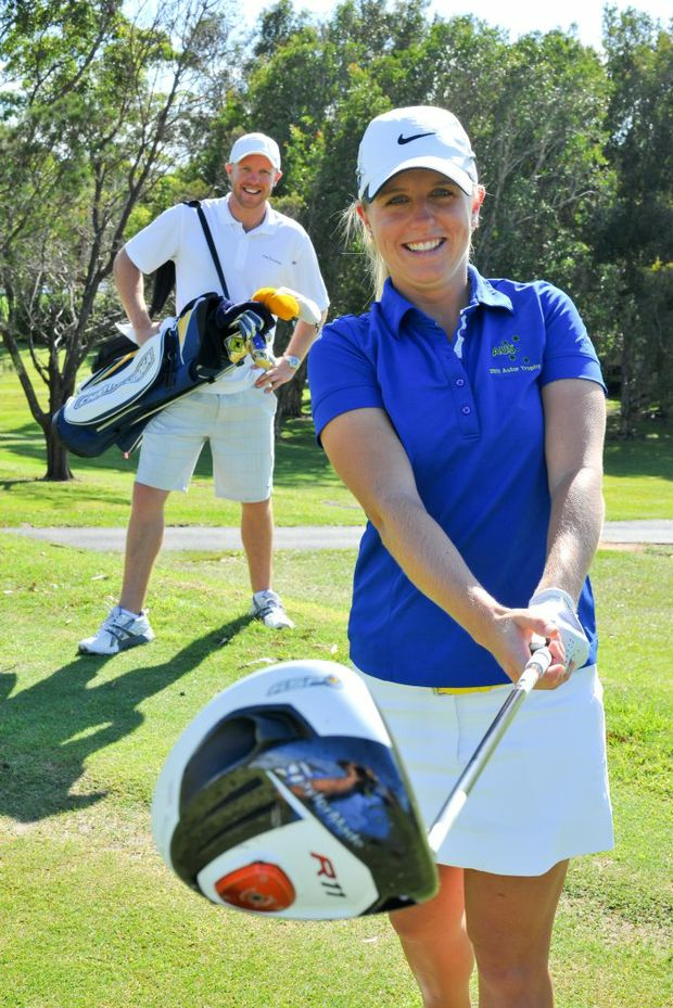 Brother and sister team, golfer Emma de Groot and caddie brother Matt.