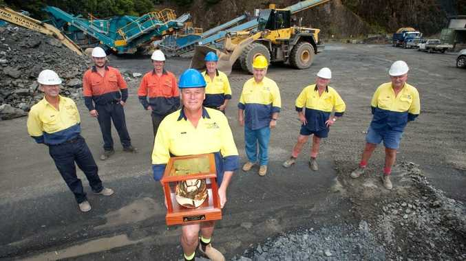 T.G Jung Quarries staff with their new Hard Hat Award.