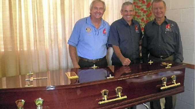 Sth Gladstone Rotary Club secretary Chris Cameron, club member Peter Corke and president Tom Stewardson.