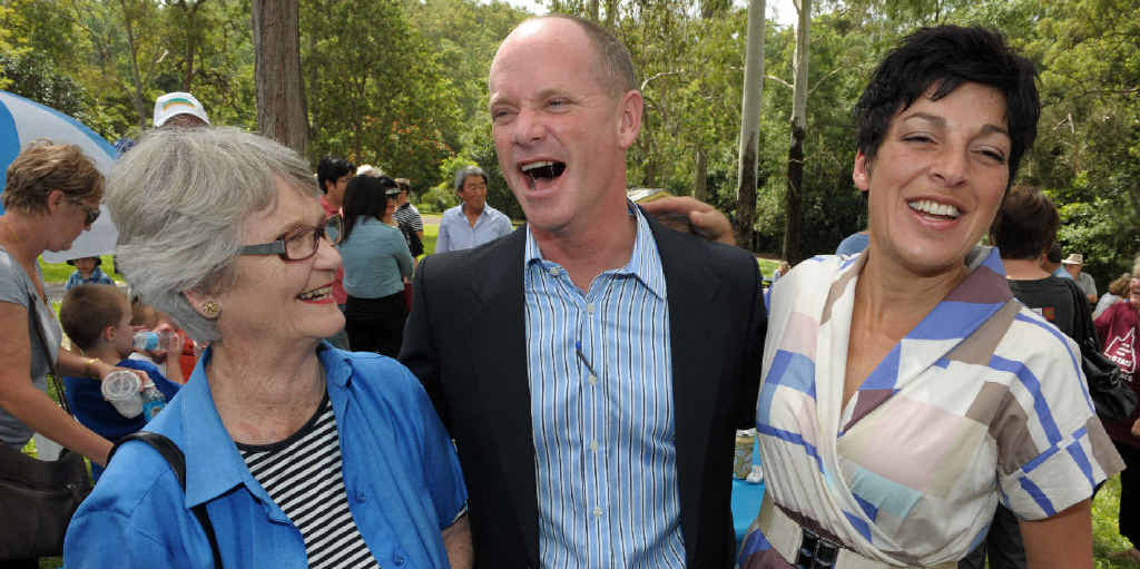 Queensland Premier elect Campbell Newman poses for a photo with his mother Jocelyn Newman (left) and wife Lisa after the Liberal National Party won the election by a landslide at the weekend.