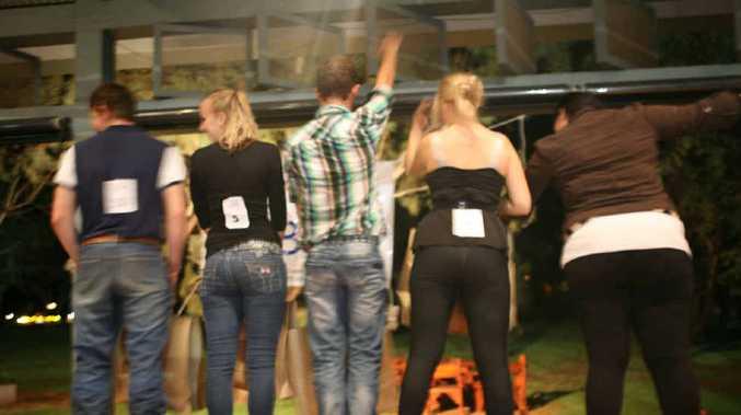 Jessiah Arnold (male runner-up), Alysha Gettera (contestant), Stan Lees (male winner), Karissa Gester (female winner) and Shae-Ellen King (female runner-up) compete in the Best Butt heat at Longreach.