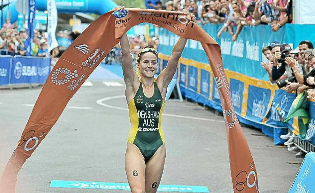 Erin Densham claims victory at the Mooloolaba Triathlon.
