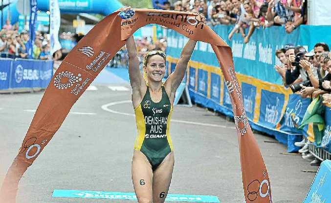 Erin Densham claims victory at the Mooloolaba Triathlon.