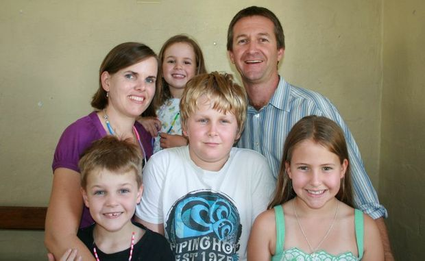 Reverend Lindsay, his wife Megan and children Josh (11), Cate (9), Ben (7) and five-year-old Anna.