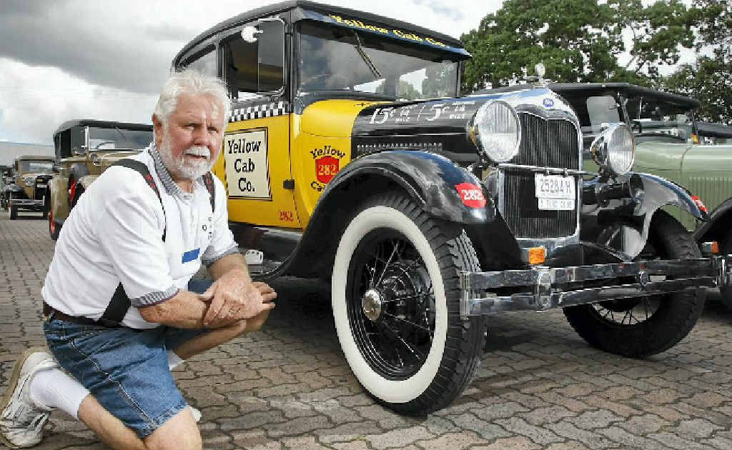 Jim Allingham with his 1928 Ford Tudor taxi at the Model A Ford national meet at the Ipswich Showgrounds.