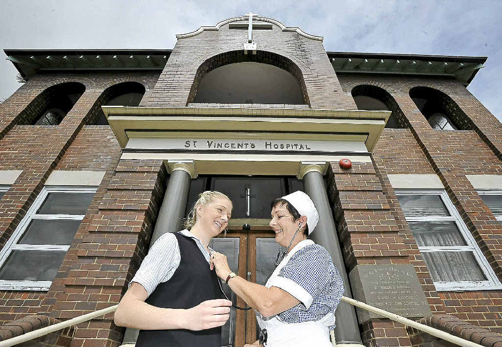 Celebrating the 91st anniversary of St Vincents Hospital in Lismore are mother and daughter, Julie (in her original nursing uniform) and Amanda West, both nurses.