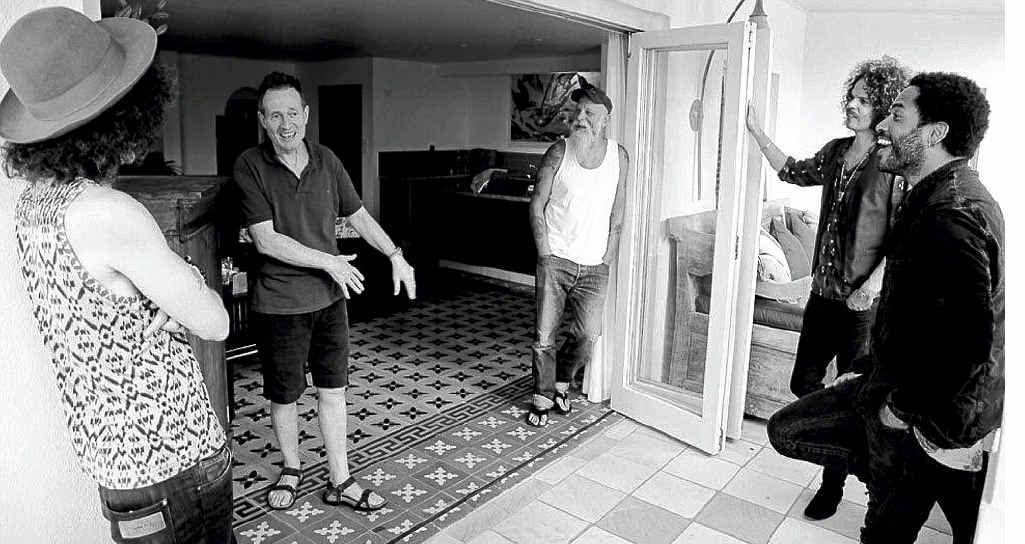 Pictured in Byron Bay are from left Craig Ross (Lenny Kravitz's guitarist), John Paul Jones (Led Zeppelin and Them Crooked Vultures), Seasick Steve, Andrew Stockdale (Wolfmother) and Lenny Kravitz.
