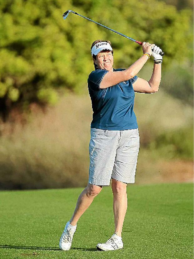A file picture of Tweed Heads golfer Karen Lunn in action in the Dubai Ladies Masters in the United Arab Emirates. Lunn's win in Morocco yesterday allowed her to celebrate her birthday in style.