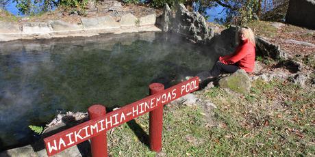 The rich mineral waters of Hinemoa's pool on Mokoia Island in Rotorua.