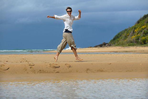 Charity beach walker Rachael Klyve. Photo: Trevor Veale / The Coffs Coast Advocate.