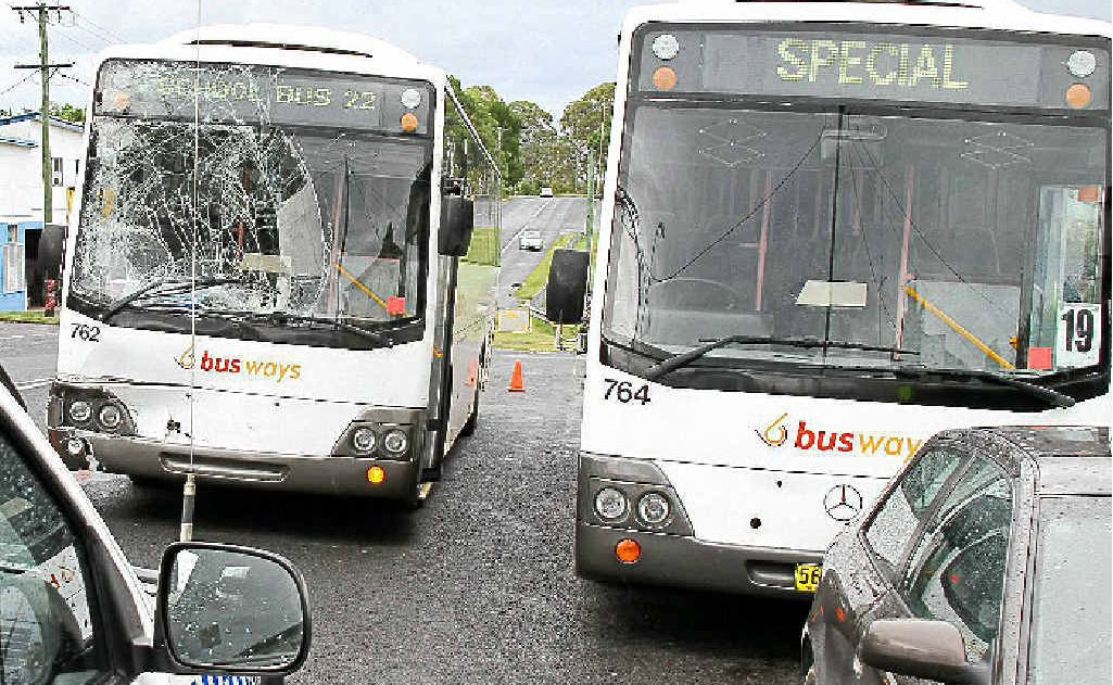 Wet weather and driver error were to blame for a school bus collision yesterday.
