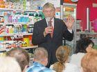 Tony Ferguson addresses a crowd at Terry White Chemist.