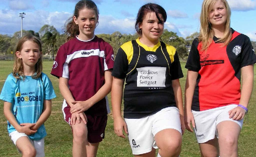 Madison Kane (7 years), Ashleigh Kane (11), Bree Shields (13) and Sheri Payne (16) will play junior football this season.