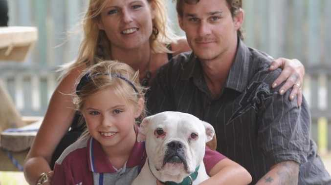 Jasper reunited with her family - Scott and Kylie Taylor and daughter Aisha.