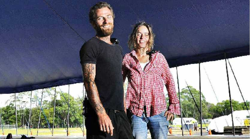 Set-up for the 2012 Byron Bay Blues Festival near Tyagarah is well under way with site manager Matty Williams and operations manager Nova Mikin over-seeing construction.