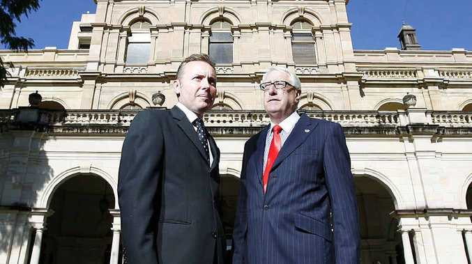 LNP first-termers Sean Choat, Member for Ipswich West, and Ian Berry, Member for Ipswich, stand outside Parliament House in Brisbane.