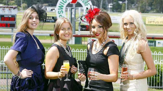 Eliza Wheler, Samantha McNeill, Gabrielle Roussetos and Louise Marschke turn out in their finery to the Recruitment Queensland Ladies Race Day at Ipswich Turf Club.