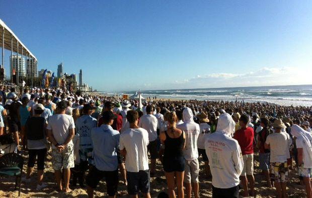 A huge turnout at the Matthew Barclay Memorial at Kurrawa Beach.