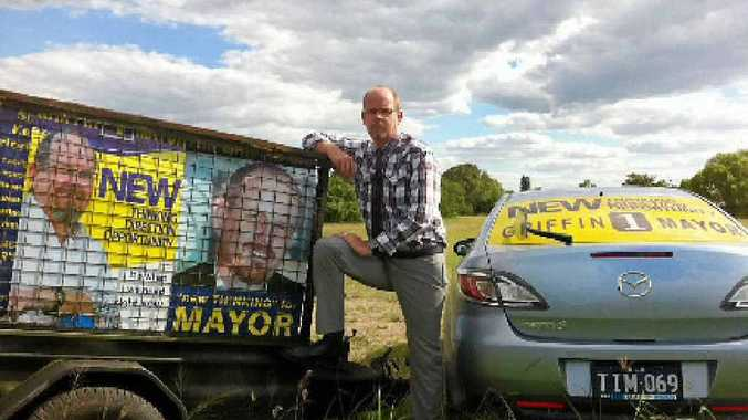 Tim Griffin is keen to ensure his mayoral campaign signs are kept safe.