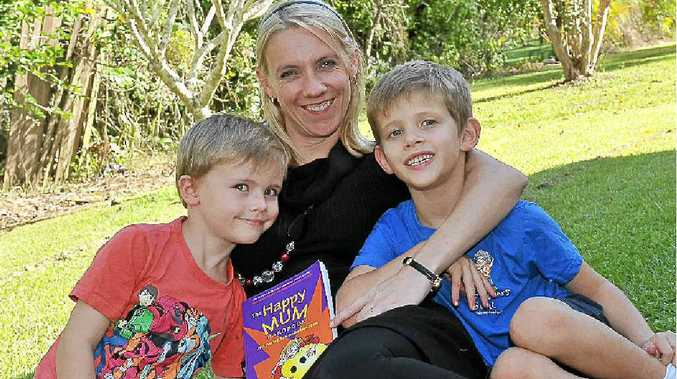 Author of the Happy Mum Handbook Jackie Hall with her sons Ryan, 5, and Cody, 7.