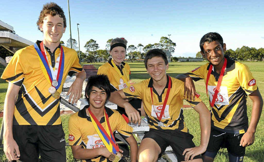 Christian Devon, Brenton Thiele, Nikita Taylor, Ben Galea and Amjad Aslam with their medals.