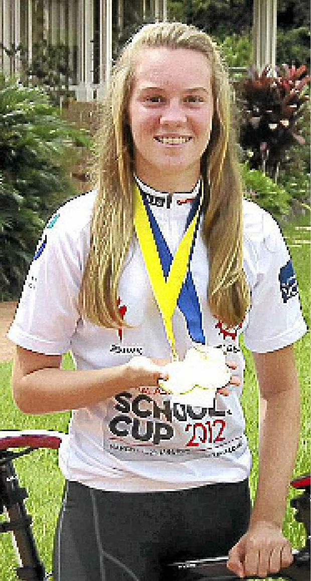 Modanville cyclist Anna-Leeza Hull with her medals from the Australasian Cycling Schools Cup.