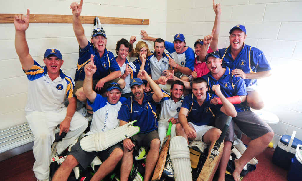 Sawtell's jubilation in defeating Diggers in the CHDCA first grade cricket final.