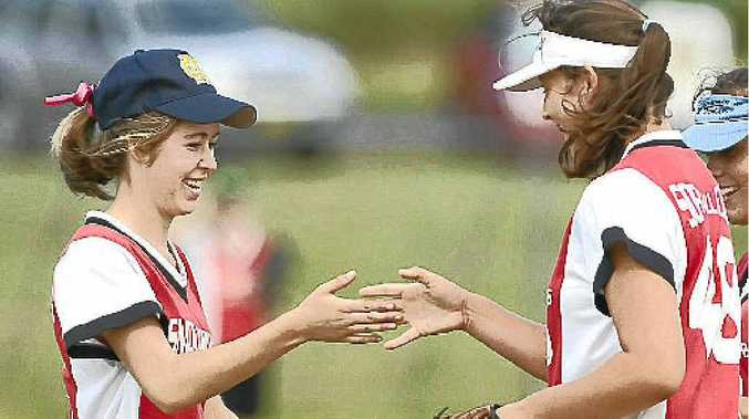 Ashleigh Knight celebrates with Laura Coulter in a game earlier in the season. Both played key roles in the under-19 grand final.