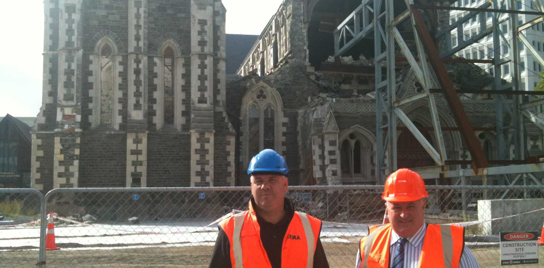 BURIED TREASURE. LVRC Mayor Steve Jones was escorted on a tour of Christchurch's 'red zone' by Caterbury Earthquake Recovery Authority general manager of operations Warwick Isaacs and viewed the iconic Christchurch Cathedral, a New Zealand national treasure, which is being torn down after the earthquakes.
