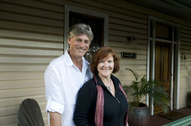 Greg and Tina Tilden outside their home at 67 Herries St, which is at the site of a mysterious baby disappearance.