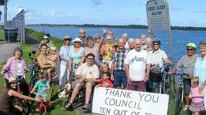 WELL DONE: Residents celebrate council's decision on the preferred route and construction materials for the recreational pathway from Angels Beach to Lennox Head.
