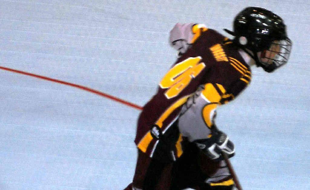 In-line hockey player Henri Mousset in full flight.