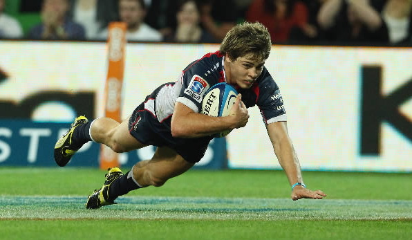 James O'Conner scores a try for the Rebels