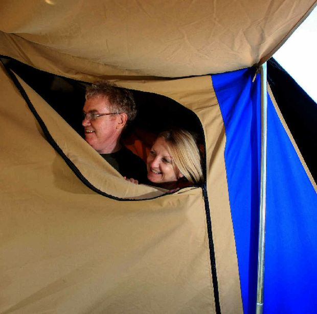 Gold Coast couple Joe Bleakley and Jennifer Chambers have gone for the easy option at Bluesfest with a pre-built tent.