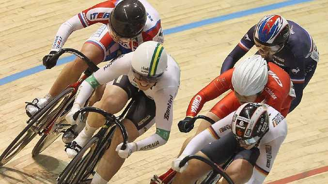 Rockhampton's Anna Meares on her way to victory in the Women's Keirin Final during the UCI Track Cycling World Championships at Melbourne.