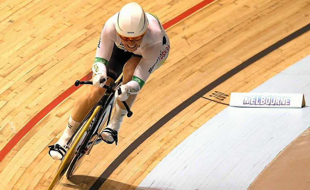 Rockhampton cycling star Anna Meares on her way to breaking the world record.