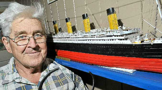 Robert Bean with his scale model of the Titanic.