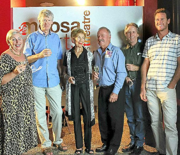 At the Noosa Arts Theatre's official opening of Stage 1 revamp, from left Liza Park, David Williamson, Marea Brown, Len Daddow, Andrew McKellar and Damian Davidson.
