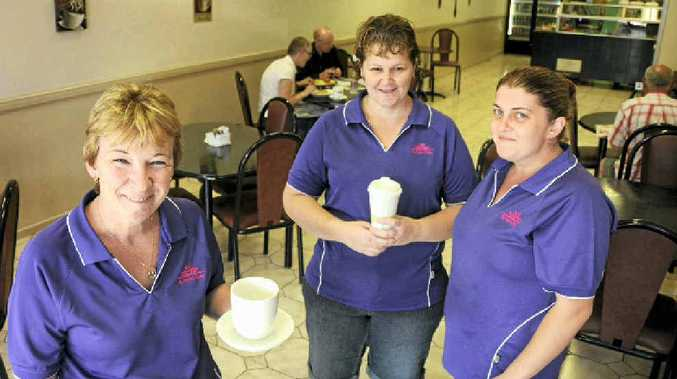 Two of the new owners of My Perfect Cuppa in Ruthven St, Robyn Hetterick (left) and Kerri Lawardorn (centre) with staff member April Hanly.