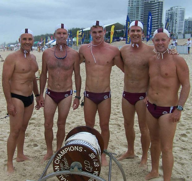 Former Emu Park surf lifesaver Sam Bell competed alongside world ironman champions Grant Kenny (far left) and Darren Mercer (far right) to win themselves a bronze medal.